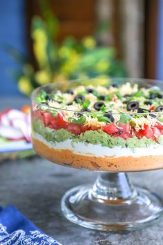 s Keto 7 Layer Dip is the perfect low carb appetizer for all of your Mexican-themed party needs - or if you just have an insane craving for 7 layer dip but don't want to blow your carb budget on beans. Gluten free, grain free, bean free, nut free, Atkins. Only 3g net carbs per serving!