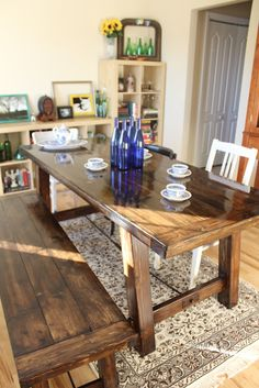 DIY Farmhouse Table... sounds really intense but maybe we could borrow tools and actually do this. Modeled after a Pottery Barn table that retails for $999 and this can be made for about $170.