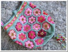 Crochet bag pink colorful