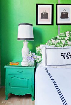 Monogrammed bedding #green #walls