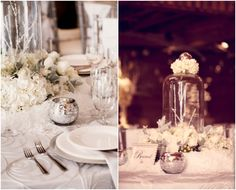 just like the idea of the frozen branches in a cloche.  Winter Wonderlands that Give Us Chills - MODwedding