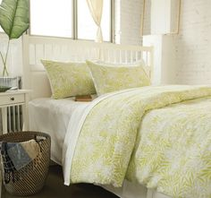 Linen Cotton Quilt Cover Set Range Delphine Pine Lime - Quilt Covers - Bed | Manchester Warehouse