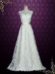 Elegant Lace A-line Wedding Dress with V Open Back | Kellie