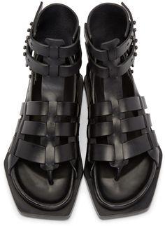 Rick Owens: Black Leather Gladiator Sandals | SSENSE