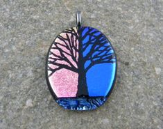 Fused Glass Pendant – Hand etched
