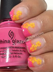 Pink & Yellow French Tropical Design Nail Art - would be cute with the glow in the darks too!