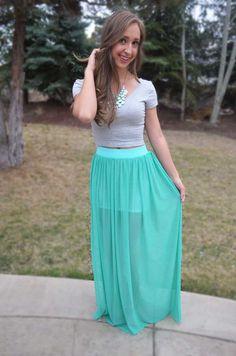 Electric Feel Maxi Skirt - Mint