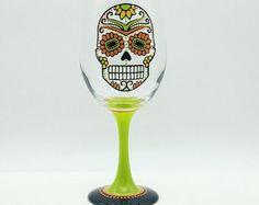 Sugar Skull Hand Painted Wine Glass Orange by PaintFromScratch
