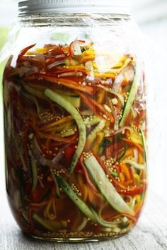 Sweet and sour like a classic bread and butter pickle, but with lovely thin strips of pickled vegetables and a little kick of spice, these are simply wonderful. Bonus: no canning required and they're ready to eat in 3 days!  Serve this simple pickled salad with grilled meats, on sandwiches, on tacos, with cream cheese in tortilla wraps, over cottage cheese for an afternoon pick-me-up, or just on their own.