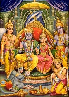 Hindu Deities - Lakshmana (here shown at left, behind throne.)  symbolizes the ideal of sacrifice. He leaves his young wife behind in the palace and chooses to accompany his brother (Rama) in exile. He sacrifices the amenities of his personal life to serve his elder brother.