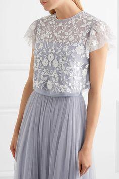 Lavender tulle Concealed zip fastening along back 100% nylon; trim: 93% cotton, 7% nylon Dry clean Designer color: Dust Blue Imported