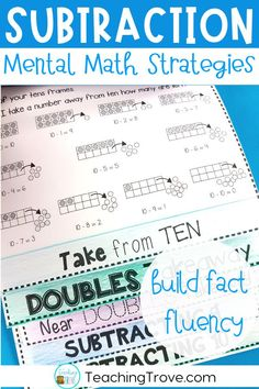 Give your students mastery over the subtraction facts to 20 by teaching them subtraction strategies. Use flip books, activities and games to teach kids to subtract using the mental math strategies for subtraction. This pack is perfect for whole group, math centers, partner work, morning work or extra activities for early finishers. #subtraction  #subtractiongames