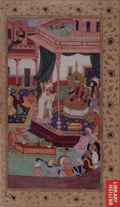 Accession of Babur Jugendstil Design, Mughal Paintings, Mughal Empire, Illuminated Manuscript, Historian, Islamic Art, Art History, Persian, Art Drawings