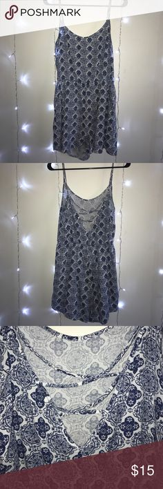 H&M Romper Size 12 Blue and white mandala design Has pockets on both sides Not tight in the middle like most rompers Divided Pants Jumpsuits & Rompers