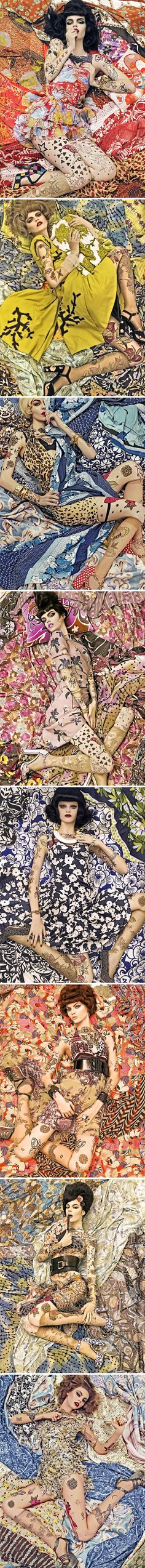 A elaborate and flamboyant 'Chameleon' concept photographed by the legendary Steven Meisel in 2007 for Vogue Italia Spring Patterns Issue. #fashion #photography