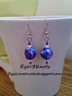 Blue White and Purple Splatter Dangle Earrings on EyeLoveKnots. Hypoallergenic. Limited Supply!