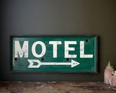 Antique 'Motel' sign, c1930s original-wood framed @ JohnMihovetz via Etsy