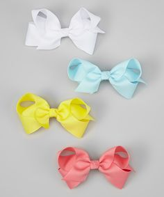 Love this White & Coral Hair Bow Set by The Bow Lady on #zulily! #zulilyfinds