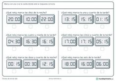 Ficha de reloj digital para primaria Spanish Teacher, Teaching Spanish, Elementary Spanish, Primary Maths, Spanish Lessons, Spanish 1, Learn Spanish, Computer Keyboard, Writing