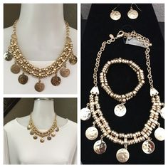 Chicos gold coin necklace EUC necklace bracelet & earrings Chicos Jewelry