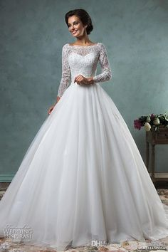 Designer Wedding Dresses Lace Long Sleeves Beaded Embellishment Wedding Dresses 2016 Bateau Tulle Skirt A Line Ball Gown Long Zipper Bridal Dresses Carolina Herrera Wedding Dresses From Gonewithwind, $418.85| Dhgate.Com