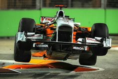 """Adrian Sutil gave new meaning to the expression """"flying around the track""""  when he took off at the infamous """"Singapore Sling"""" chicane during the 2010 Singapore Grand Prix. #F1 #Formula1 #SingaporeGP #SingaporeSling #AdrianSutil"""