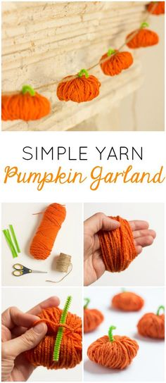 Pumpkins Make this simple yarn pumpkin garland for your fall mantel!Make this simple yarn pumpkin garland for your fall mantel! Bolo Halloween, Adornos Halloween, Halloween Yarn, Easy Halloween, Kids Halloween Crafts, Halloween Pumpkins, Diy Y Manualidades, Manualidades Halloween, Pinterest Deco Noel