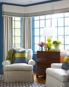 Living Room blue walls bay window Greek key drapery trim