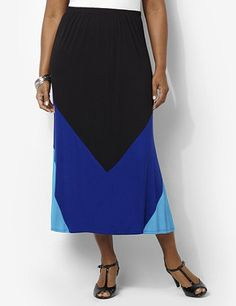 Soft skirt features an on-trend pattern for a fresh look. Pull-on style flatters with its chevron colorblock design. All-around elastic waistband stretches to your figure. To provide a stylish and comfortable fit, Catherines plus size skirts are made specifically for a fuller figure. catherines.com