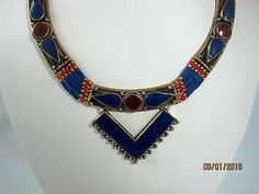 Handcrafted Ethnic Tibet Blue Lapis Red Carnelian Necklace V Accent