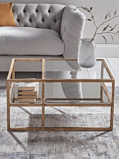 Burnished Gold & Antiqued Glass Coffee Table - Luxury Coffee Tables - Luxury Modern Tables - Modern Home Furniture Gold Glass Coffee Table, Garden Coffee Table, Coffee Tables For Sale, Coffee Table Design, Gold Table, Top Furniture Stores, Table Furniture, Cool Furniture, Furniture Design