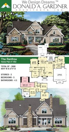 The Renfrow house plan 1482 is now available! Two Story House Plans, Two Story Homes, New House Plans, Dream House Plans, House Floor Plans, Dream Home Design, My Dream Home, House Design, Traditional House Plans