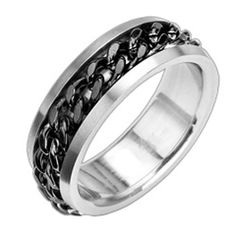 New Stainless Steel Men's Black Cuban Spinning Chain Band Ring-Sizes 9-15 (8011) in Rings   eBay