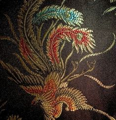 Asian Influenced Black Multi Phoenix Peacock Firebird Embroidered Brocade Upholstery Fabric