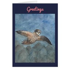 Owl Watercolor Greeting Card