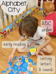 Alphabet City Sorting Center Activity for Letter Recognition, Phonemic Awareness, ABC Order, and Emergent Readers from Still Playing School