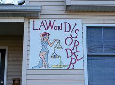 Sign for the Law & Disorder house in Oxford, Ohio. Miami University, Disorders, Ohio, Law, Oxford, Neon Signs, House, Decor, Columbus Ohio