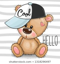 Cartoon Cool Teddy Bear with a pink cap on striped background. Cute Cartoon Cool Teddy Bear with a pink cap on striped background royalty free illustration Teddy Bear Drawing, Teddy Bear Cartoon, Baby Teddy Bear, Cute Teddy Bears, Cute Cartoon, Clipart Baby, Cartoon Mignon, Cute Baby Wallpaper, Teddy Bear Pictures