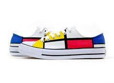Mondrian Style Hand Painted Platform Shoes