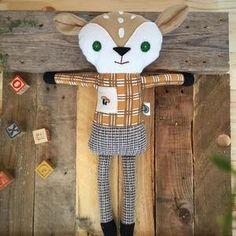 Handmade Deer Stuffed Animal - Yellow Plaid with Mushroom Pocket & Tweed Pants - Woodland Animals National Park Gifts, National Park Posters, Deer Stuffed Animal, Yellow Plaid Shirt, Tweed Pants, Park Art, Vintage Fabrics, Woodland Animals, All Design