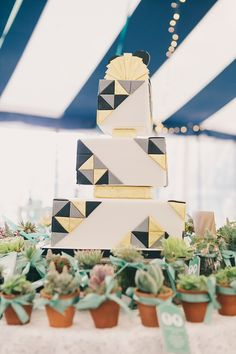 1920s art deco geometric inspired wedding cake, from 'A 1920s Jazz Age, Prohibition and Charleston Inspired Vintage Wedding', photographed by http://www.brighton-photo.com/