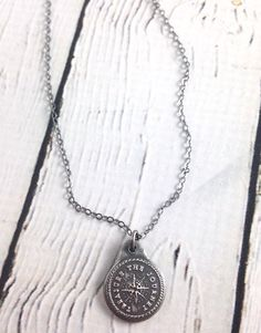"This listing is for one Compass"" Necklace on a cable chain. Each piece is handmade with eco-friendly materials and techniques. These are handmade with Silver & Sterling Silver. Compass Necklace, Pendant Necklace, Silver In The City, Inspirational Gifts, Mother Day Gifts, Eco Friendly, Cable, Sterling Silver, Chain"