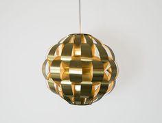 Lightolier | 60s brass ribbon pendant chandelier