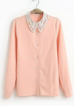 Pink Cotton Blends Constrast Lapel Long Sleeve Button Fly Plain Tops