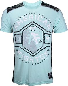American Fighter Men's MacMurray Short Sleeve Panel Crew Tee Mint X-Large Jiu Jitsu Gear, American Fighter, Tees, Mens Tops, T Shirt, Shopping, Clothes, Sleeve, Cotton