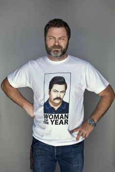 A 'bird streets' offering from Nick Offerman, Megan Mullally Woman T-shirts ron swanson woman of the year t shirt Parks And Recs, Nick Offerman, Leslie Knope, Daddy, Humor, Look Cool, Favorite Tv Shows, Movies And Tv Shows, In This World
