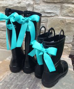 Mother and Daughter Rain Boots with Tiffany Blue Bow
