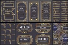Ad: Art deco border frame divider by Tartila on Art Deco design elements collection, vector frames, borders, corners and backgrounds for trendy cards --- This Art Deco collection is Art Deco Design, E Design, Design Elements, Design Ideas, Border Design, Vector Design, Pattern Drawing, Pattern Art, Gold Pattern