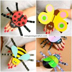 Printable Bug Puppets – Easy Peasy and Fun - Clown Basteln Clown Crafts, Insect Crafts, Puppet Crafts, Bug Crafts, Camping Crafts, Crafts To Do, Crafts For Kids, Rv Camping, Kindergarten Crafts