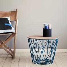 ferm Living wire basket top, light oak, medium - norsu interiors